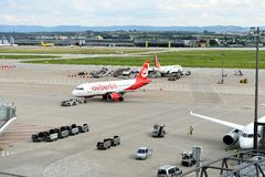 Air Berlin Plane. A Air Berlin Plane has landed at Stuttgart Airport Stock Photo