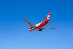 Air Berlin-vliegtuigen die op de luchthaven landen Royalty-vrije Stock Afbeelding