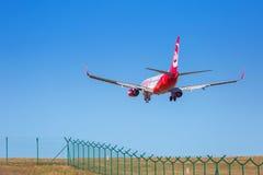 Air Berlin-vliegtuigen die op de luchthaven landen Royalty-vrije Stock Afbeeldingen