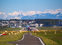 Air Berlin A-320. ZURICH - MAY 05: Air Berlin A-320 landing in Zurich airport on May 5, 2016 in Zurich, Switzerland. Zurich airport is home port for Swiss Air royalty free stock photos