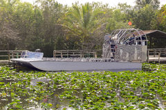 Air-boat in the swamp. For tour to see alligators and crocodiles Royalty Free Stock Image