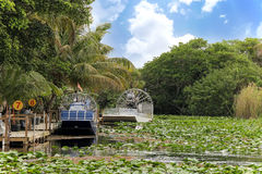 Air-boat in the swamp. For tour to see alligators and crocodiles Stock Photo