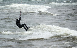 Air borne kite boarder on Lake Michigan Stock Photos