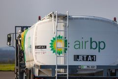 Air bp jet fuel truck at dortmund 21 airport germany stock photography