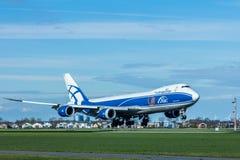Air Bridge Cargo 747 aircraft landing at Amsterdam Schiphol Airport Stock Image