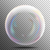 Air Bubble. Glow White Transparent Bubble With Light Transparent Shadow And Reflection, Shiny Sphere. Vector Illustration Royalty Free Stock Image