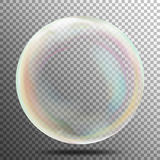 Air Bubble. Glow White Transparent Bubble With Light Transparent Shadow And Reflection, Shiny Sphere. Vector Illustration Stock Photo