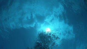 Air Bubbles in the Blue Water stock footage