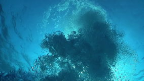 Air Bubbles in the Blue Water stock video footage