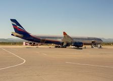 Air bus А330 of Russian airlines Aeroflot at airport of Yuzhno- Royalty Free Stock Photos