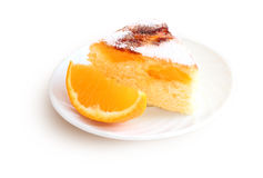 Air cake with oranges and sugar. Isolated on white background Stock Photography