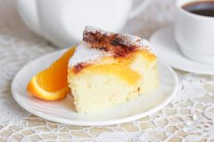 Air cake with oranges. And sugar  on white Stock Photo