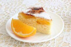 Air cake with oranges. And sugar  on white Stock Images