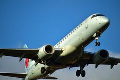 Air Canada Airbus ERJ190 coming in for a landing. stock photos
