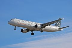 Air Canada Airbus A321-200 In Star Alliance Livery On Final Approach. An Air Canada Airbus A321-200 painted in a special Star Alliance livery, photographed on royalty free stock photos