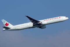 Air Canada Boeing 777-300. Frankfurt, Germany - September 17, 2014: An Air Canada Boeing 777 taking off from Frankfurt International Airport (FRA). Air Canada is Royalty Free Stock Images