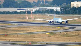 Air Canada Boeing 787 landing. FRANKFURT AM MAIN, GERMANY - JULY 19, 2017: Air Canada Boeing 787 Dreamliner braking after landing at 07L, slow motion. Fraport stock video