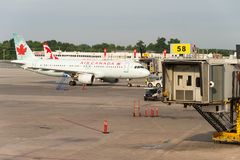 Air Canada commercial planes. Montreal, CA - 17 August 2017: Air Canada commercial planes on the tarmac of Montreal Pierre Elliott Trudeau International Airport royalty free stock photography
