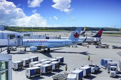 Air Canada e delta fotografia stock