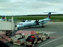 Air Canada Express plane. Air Canada Express parked in the tarmac of Quebec City Jean Lesage International Airport stock images