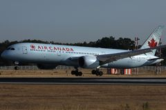 Air Canada landing on the runway. Air Canada doing taxi on the runway stock photos