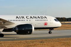 Air Canada landing on the runway. Air Canada doing taxi on the runway stock images