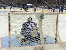 Air Canada mitt Toronto Maple Leafslek goalie Arkivfoton