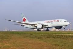 Air Canada. Paris/France October 9, 2015: Boeing 787 Air Canada landing at Paris Airport Stock Images