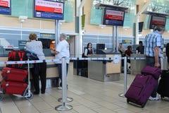 Air Canada rejestracyjny biurko przy YVR lotniskiem Fotografia Stock