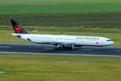 Air Canada Airbus A330. Air Canada A330 on the runway royalty free stock photo