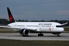 Air Canada taxiing on the runway. Air Canada doing taxi on the runway royalty free stock images
