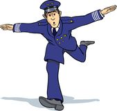 Air captain imitating plane. An air captain is imitating an aeroplane in flight Royalty Free Stock Photos