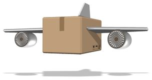 Air cargo. Brown cardboard box with airplane wings attached to it Stock Photography