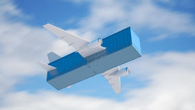 Air cargo concept. Illustration - container with jetliner wings Stock Photography