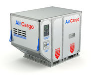 Air cargo container with metal pallet Stock Photo