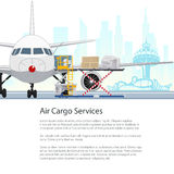 Air Cargo Services and Freight, Brochure Design. Air Cargo Services and Freight, Airplane with Autoloader at the Airport on the Background of the City vector illustration