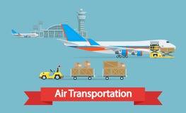 Air cargo transportation concept. Flat style illustration. Stock Photos