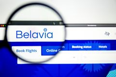 Air carrier Belavia website homepage. Belavia logo visible through a magnifying glass. Washington, USA - April 03, 2019: Air carrier Belavia website homepage stock image