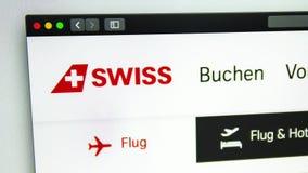 Air carrier Swiss website homepage. Swiss logo visible. Washington, USA - April 03, 2019: Air carrier Swiss website homepage. Swiss logo visible through a stock video