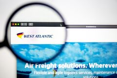 Air carrier West Atlantic website homepage. West Atlantic logo visible through a magnifying glass. Washington, USA - April 03, 2019: Air carrier West Atlantic royalty free stock photos