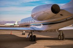 Air Charter Jet Airplane. Airport Area. Modern Air Transportation Theme stock photography