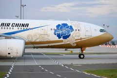 Air China airplane in Ferihegy, Hungary. BUDAPEST, HUNGARY - 4 SEPTEMBER: on 4 Sept, 2016 in Budapest Ferihegy International Airport an Airbus A330-200 from the Royalty Free Stock Photos