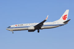 Air China B-1767 Boeing 737-800 som landar i beijing, Kina Royaltyfria Bilder