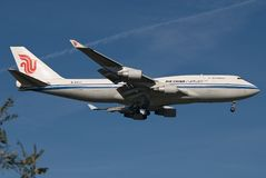 Air China Boeing 747 Lading Royalty-vrije Stock Fotografie