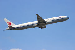 Air China Boeing 777. FRANKFURT, GERMANY - JUL 11: A Boeing 777-300 from Air China taking off from Frankfurt Airport. Air China is one of the major airlines of Royalty Free Stock Image