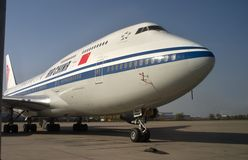 Air China Boeing 747-400. Jet taxiing to the Beiing International Airport Stock Photos