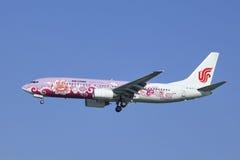Air China Boeing 737-86N, landning B-5177 i Peking, Kina Royaltyfria Foton