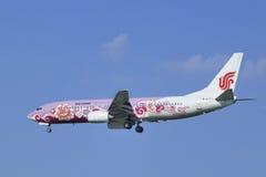 Air China Boeing 737-86N, landning B-5177 i Peking, Kina Arkivbild