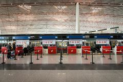 Air China check-in counter at Beijing airport in China. Beijng, China - October 2017: Air China check-in counter at Beijing airport in China. Air China is the Royalty Free Stock Image