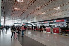 Air China check-in counter at Beijing airport in China. Beijng, China - October 2017: Air China check-in counter at Beijing airport in China. Air China is the Royalty Free Stock Photo